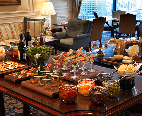 Club Lounge food menu. Photo depicts Evening Hors d'Oeuvres