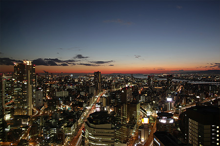Stunning view of Osaka skyscape from the window.