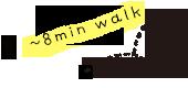 8mins walk