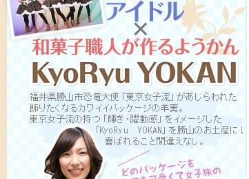 アイドル×和菓子職人が作るようかんKyoRyuYOKAN 福井県勝山市恐竜大使「東京女子流」があしらわれた飾りたくなるカワイイパッケージの羊羹。東京女子流の持つ「輝き・躍動感」をイメージした「KyoRyu YOKAN」を勝山のお土産に!喜ばれること間違えなし。