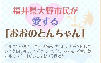 福井県大野市民が愛する「おおのとんちゃん」ホルモンの味つけには、地元のおいしいみそが使われ、みそダレに漬けこんだホルモン「とんちゃん」が大人気ホルモンバトルがおこなわれるほど!