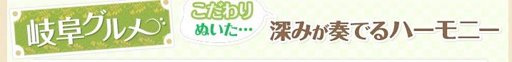 岐阜県グルメ こだわりぬいた・・・深みが奏でるハーモニー
