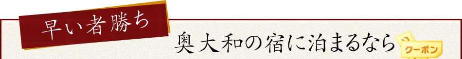 早い者勝ち奥大和の宿に泊まるなら4,000円分お得に旅行できるクーポンプレゼント!