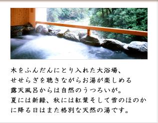 木をふんだんにとり入れた大浴場、せせらぎを聴きながらお湯が楽しめる露天風呂からは自然のうつろいが。夏には新緑、秋には紅葉そして雪のほのかに降る日はまた格別な天然の湯です。