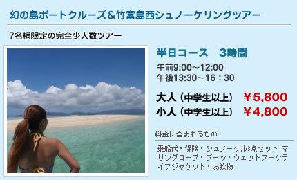 幻の島ボートクルーズ&竹富島西シュノーケリングツアー