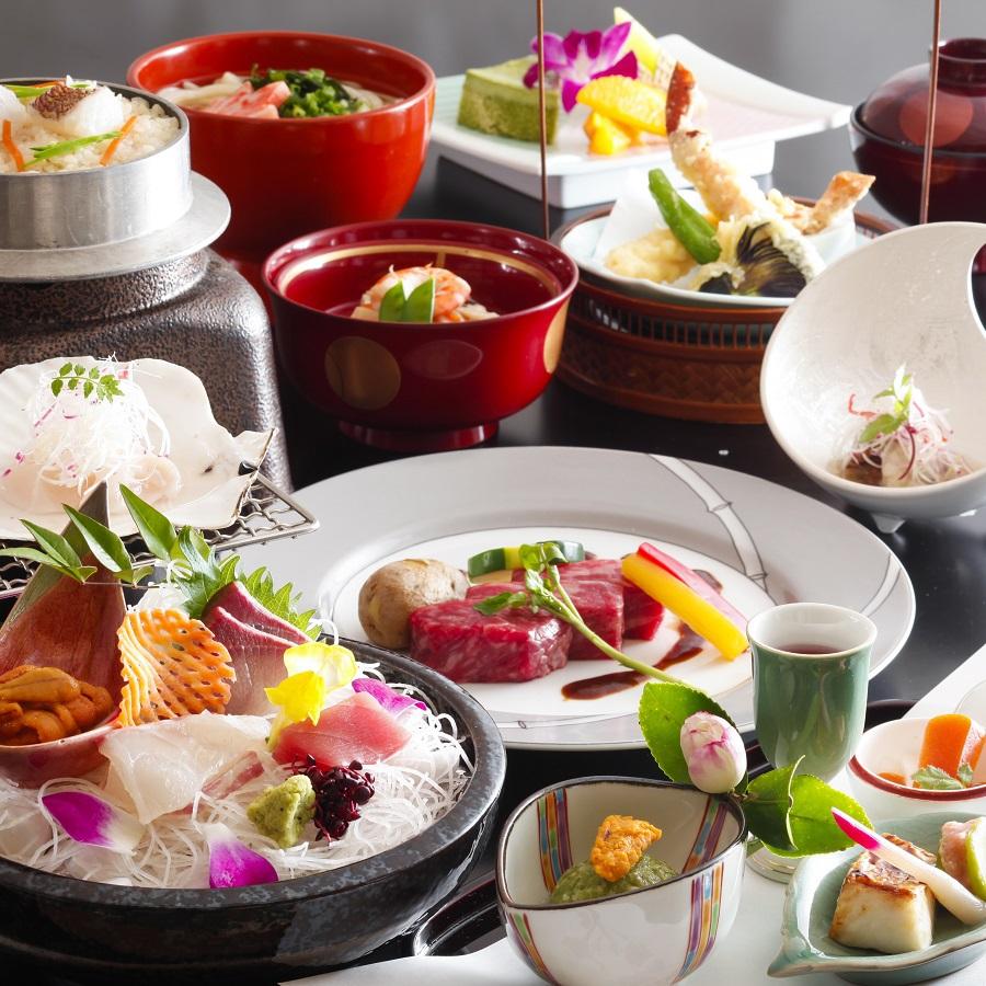 女将特選2017(新春)〜オリーブ牛ステーキ、ズワイ蟹の天麩羅、帆立の殻焼き、鯛釜飯