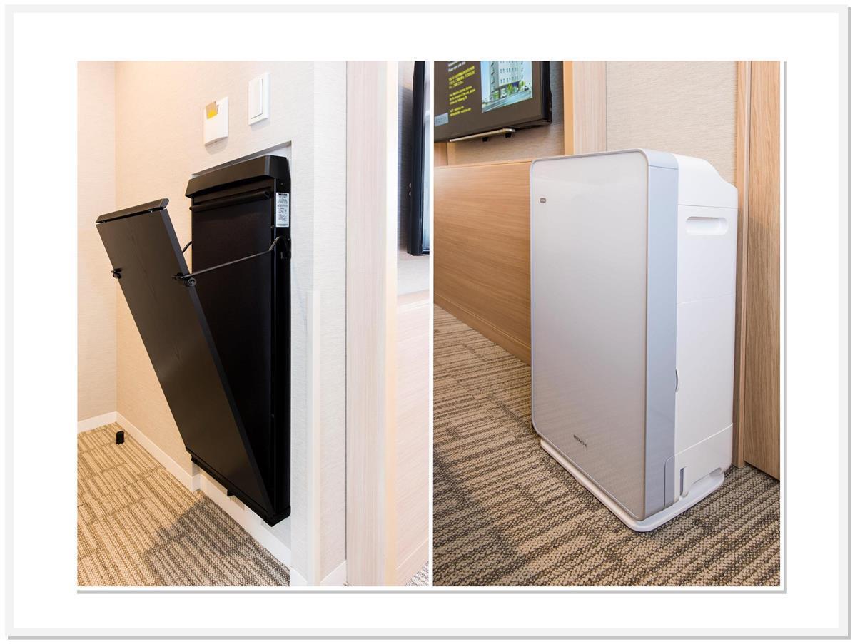 ズボンプレッサー、加湿機能付空気清浄器完備