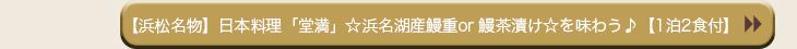 【浜松名物】日本料理「堂満」☆浜名湖産鰻重or 鰻茶漬け☆を味わう♪【1泊2食付】