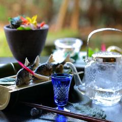 鮎塩焼と冷酒