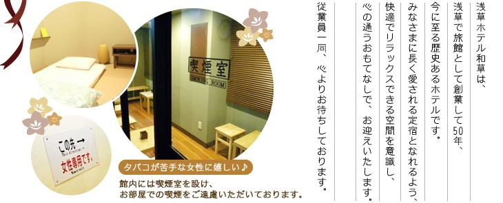 浅草ホテル和草は、浅草で旅館として創業して50年、今に至る歴史あるホテルです。