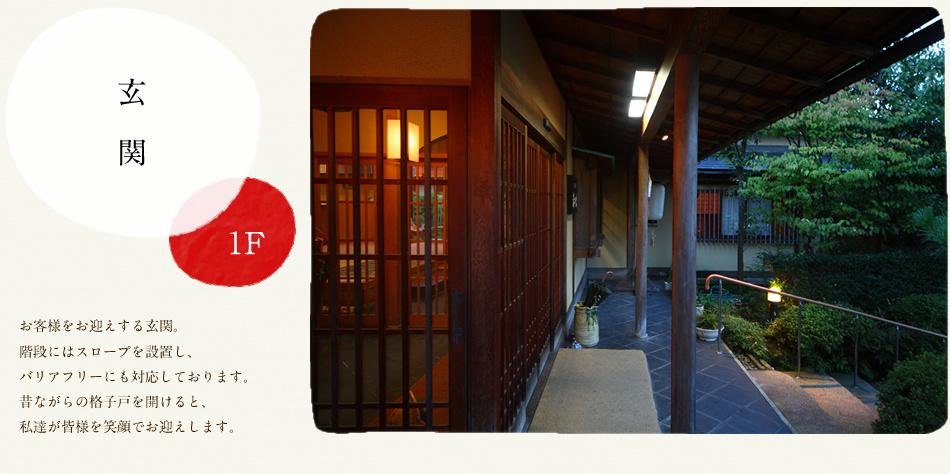 『お玄関(1F)』…お客様をお迎えする玄関。階段にはスロープを設置し、バリアフリーにも対応しております。昔ながらの格子戸を開けると、私達が皆様を笑顔でお迎えします。