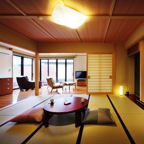 穂の音・和室10帖+リビング+ツインベッドルーム+露天風呂