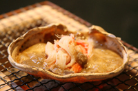 ズワイ蟹の甲羅焼