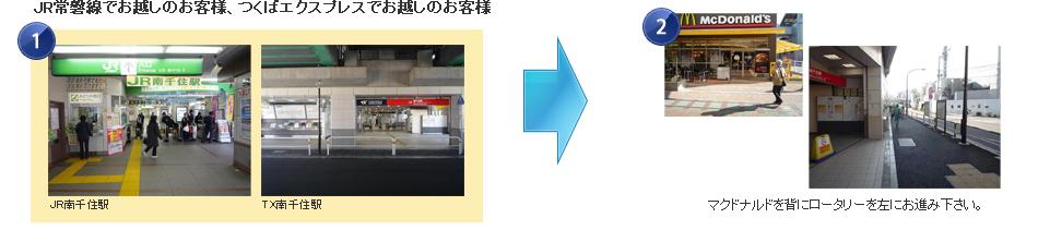 JR常磐線でお越しのお客様、つくばエクスプレスでお越しのお客様