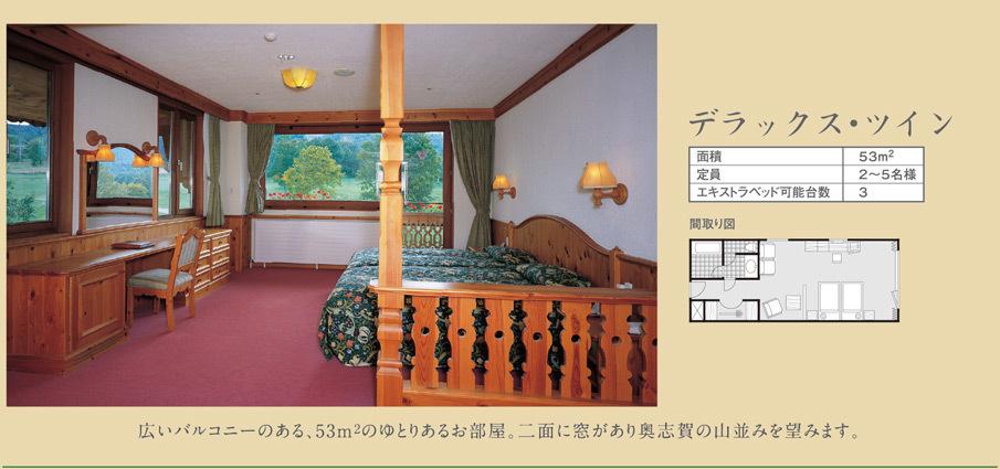 デラックス・ツイン / 広いバルコニーのある、53m2のゆとりあるお部屋。二面に窓があり奥志賀の山並みを望みます。