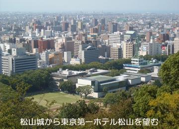 松山城から東京第一ホテル松山を望む