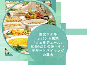東武ホテルレバント東京「ヴェルデュール」約60品目の洋・中・デザートバイキングの昼食