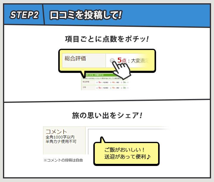 step2口コミを投稿して! 項目ごとに点数をポチッ! 旅の思い出をシェア!
