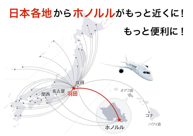2020年3月29日より羽田発ハワイ線が1日2便運航に