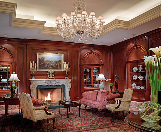 The elegant and luxurious lobby, featuring a collection of 18th and 19th centurie artwork.