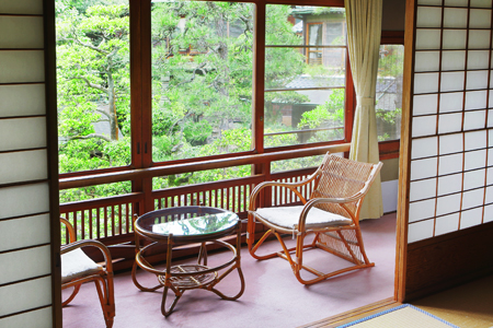 An expansive view of the garden can be enjoyed from the veranda