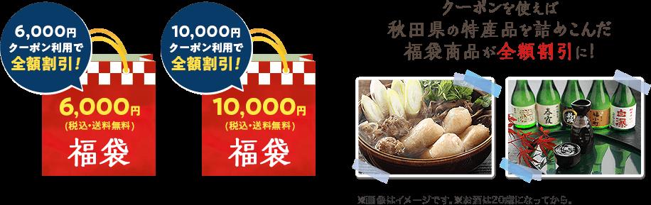 クーポンを使えば秋田県の特産品を詰め込んだ福袋商品が全額割引に!