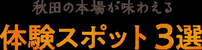 秋田の本場が味わえる体験スポット3選