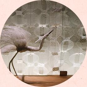 伊予水引細工の壁面装飾(個室休憩室)