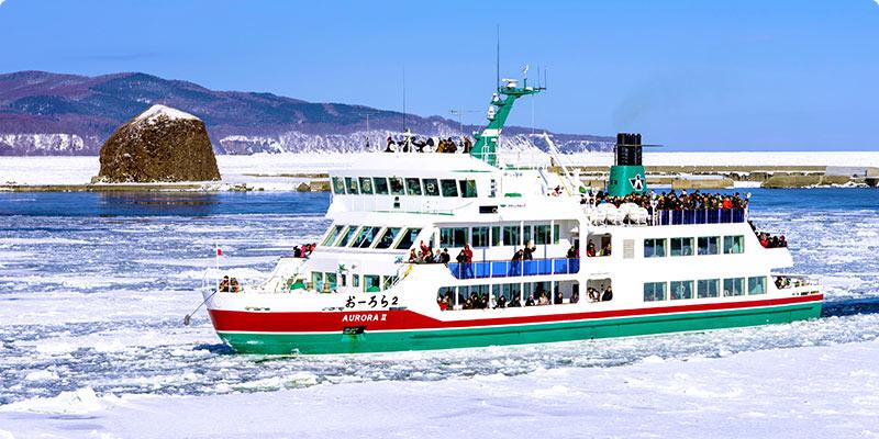 オホーツク海で流氷体験