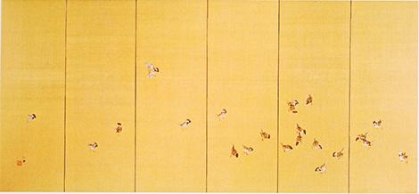 竹内栖鳳 「喜雀」(六曲一双屏風・左隻)