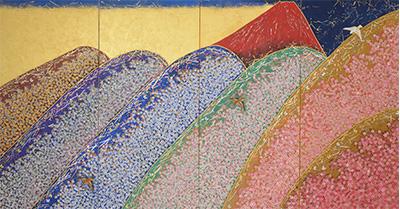 平松礼二「花山・Japon」(四曲一隻屏風)