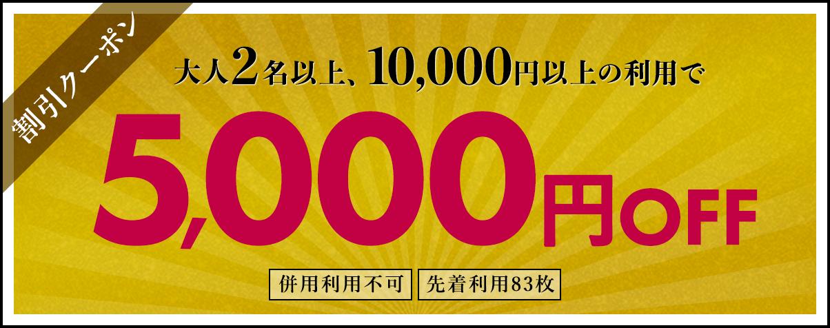 割引クーポン 大人2名以上、10,000円以上の利用で5,000円OFF 併用利用不可、先着利用83枚