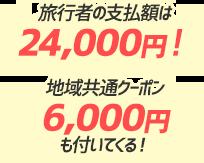 旅行者の支払額は24,000円!地域共通クーポン6,000円も付いてくる!