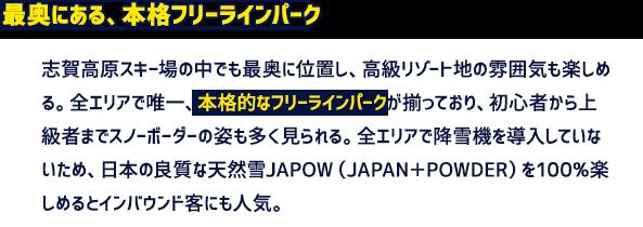 最奥にある、本格フリーラインパーク 志賀高原スキー場の中でも最奥に位置し、高級リゾート地の雰囲気も楽しめる。全エリアで唯一、本格的なフリーラインパークが揃っており、初心者から上級者までスノーボーダーの姿も多く見られる。全エリアで降雪機を導入していないため、日本の良質な天然雪JAPOW(JAPAN+POWDER)を100%楽しめるとインバウンド客にも人気。