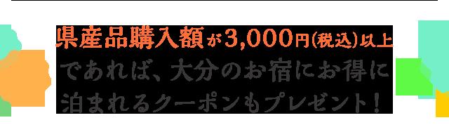 県産品3,000円(税込)以上ご購入いただいた方には大分のお宿にお得に泊まれるクーポンもプレゼント!