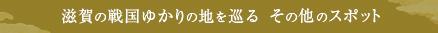 滋賀の戦国ゆかりの地を巡る その他のスポット