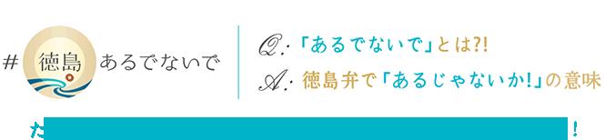 たくさんの魅力にあふれた徳島を『新発見・再発見』してください!