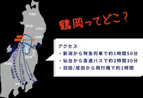 鶴岡市地図