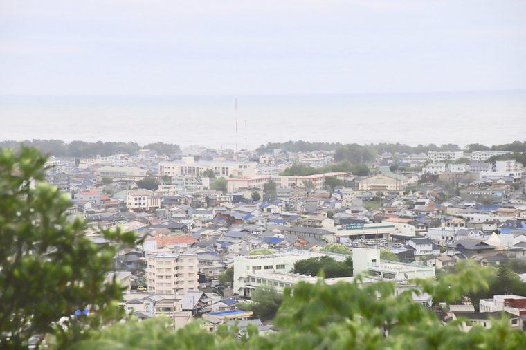 神倉神社から新宮市を一望