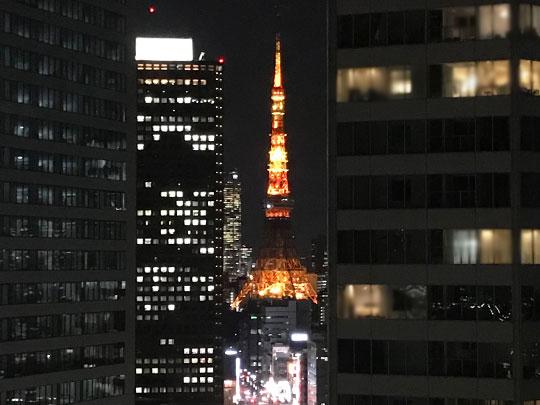ベイサイドホテルアジュール竹芝・浜松町 客室から見る東京タワー