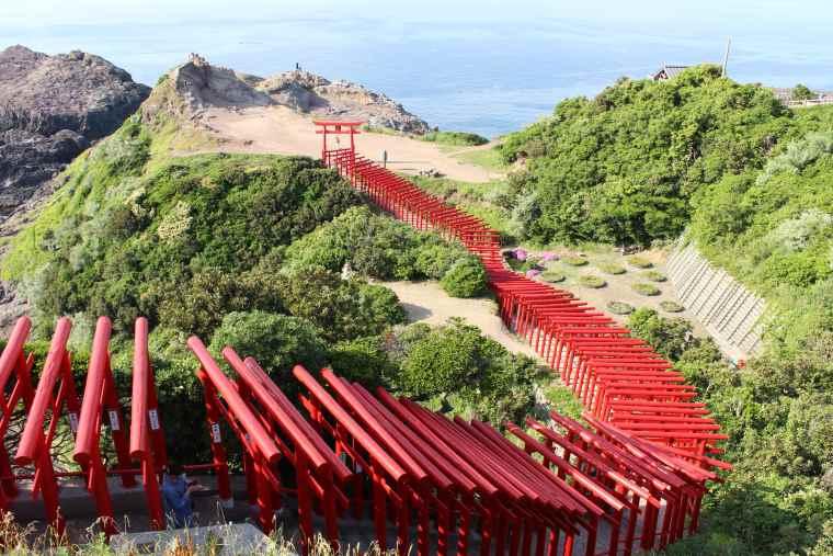 朱色の鳥居と青い日本海が映える元乃隅神社の絶景