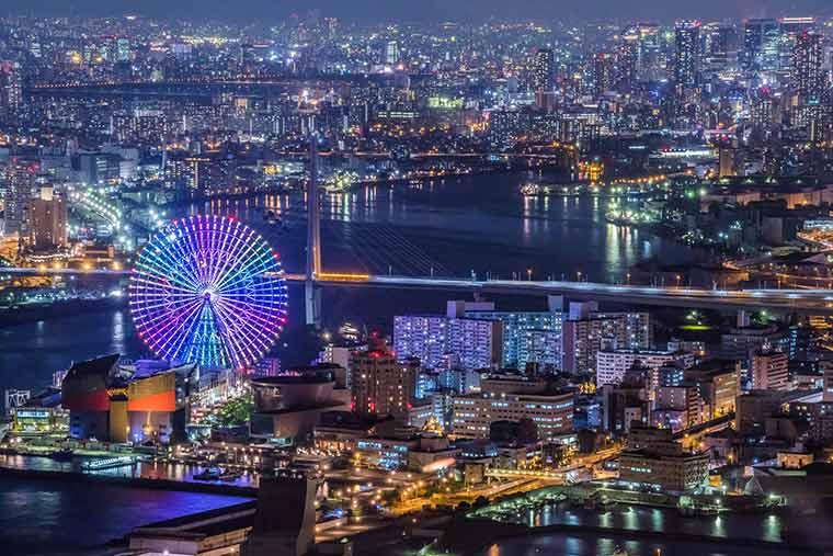 大阪府咲洲庁舎(さきしまコスモタワー)展望台の夜景