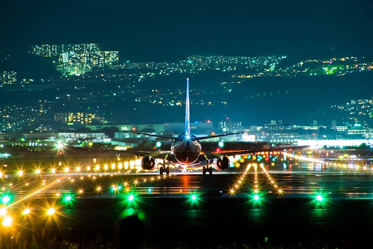 千里川土手の夜景