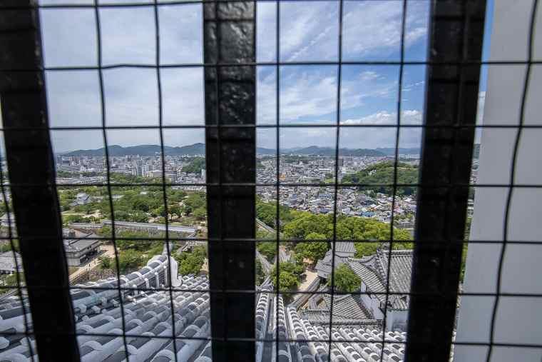姫路城の天守閣からの眺め