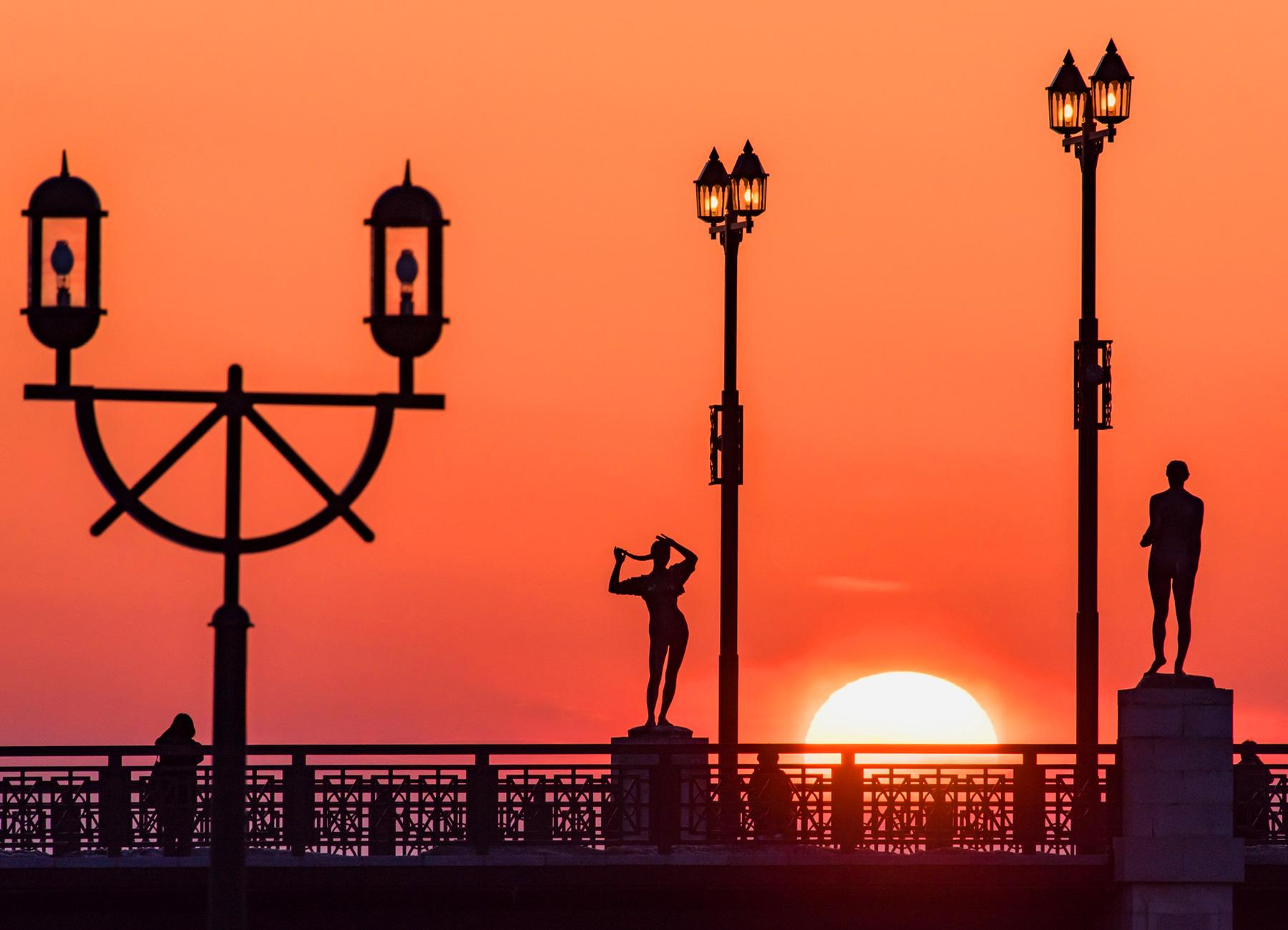 幣舞橋と夕焼け