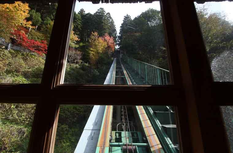 ホテルかずら橋 露天風呂へのケーブルカー