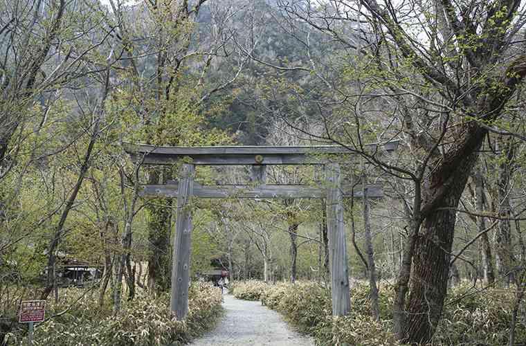 穂高神社奥宮の境内にある明神池