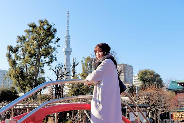 亀戸天神社から見える東京スカイツリー