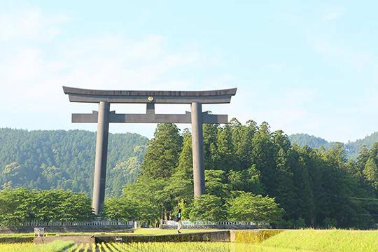 かつて社殿が置かれた大斎原の巨大な鳥居も必見