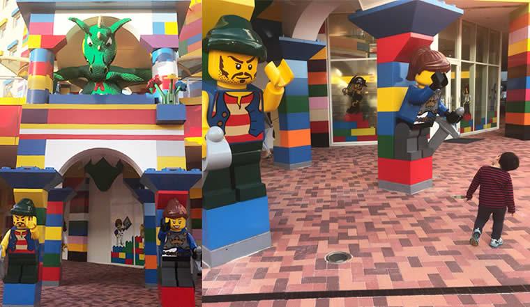 レゴランドホテルを守るドラゴンとレゴの大きな人形たち